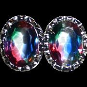 835 Silver Framed Iris Glass Clip Earrings