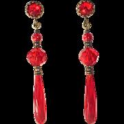 Art Deco Red Crystal Teardrop Drops Earrings