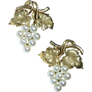 Gold Filled HSB Cultured Pearls Grape Earrings