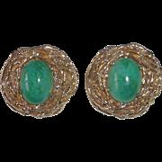 Panetta Gold Tone Birds Nest Clip Earrings Faux Jade Cabochons