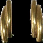 Art Deco GP Brass Clip Earrings Germany