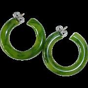 Green Marbled Bakelite Hoop Storestock Earrings