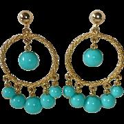 Funky Hoop Earrings Graduated Turquoise Plastic Beads