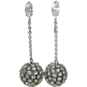 Rhinestone Disco Ball Silver Tone Drop Earrings