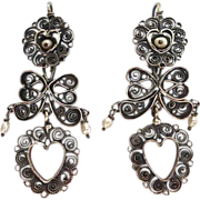 SALE Mexican Sterling Filigree Heart~Bows~FW Pearl Earrings
