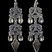 Elaborate Scandinavian Norway Silver Solje Earrings