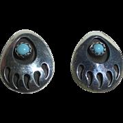 Vintage Sterling Bear Paw Post Earrings