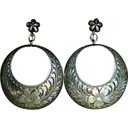 Engraved Sterling Hanging Dome Gypsy Hoop Earrings