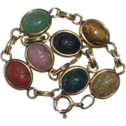 Egyptian Revival Gold Filled Semi Precious Stone Scarab Beetle Bracelet