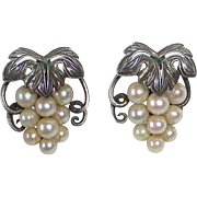 Sterling & Cultured Pearl Grapes Motif Earrings