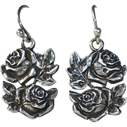 Vintage Sterling Double Roses Earrings with Back Medals