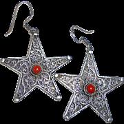Sterling Silver Star Earrings Filigree & Coral