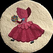 VIntage Handcrafted Unused Hooked Wool Seat Cover
