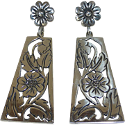 Mexican Sterling Long Pierced Floral Drop Earrings