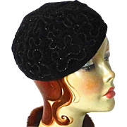 Black on Black Beaded Velvet Cotton Beret