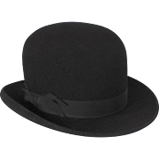 SOLD Vintage Black Wool Derby Bowler Hat