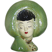 Ceramic Head Vase Wall Pocket Pretty Girl in Wide Brim Hat