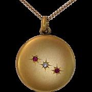 Antique Edwardian Gold Filled Locket w Paste Stones