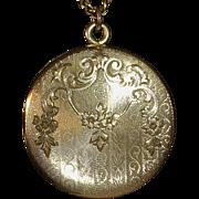 Rose Gold Shell Ornate Engraved Locket GF Chain