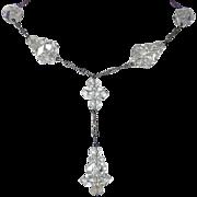Art Deco Sparkling Crystal Drop Necklace Rhodium Plate