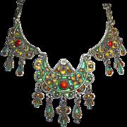 Moroccan Sterling Enamel & Coral Ornate Bib Necklace