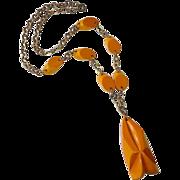 Carved Butterscotch Bakelite Pendant Necklace