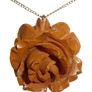 Bakelite Carved Rose Pendant Gold Filled Chain