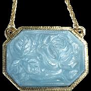 Gold Tone Pendant Necklace Molded Blue Art Glass Rose