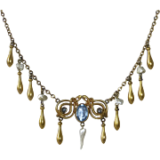 Edwardian Gold Filled Necklace FWP & Teardrops