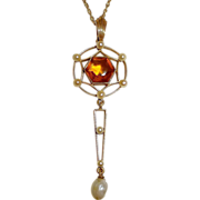 14k Citrine & Seed Pearl Lavaliere Necklace