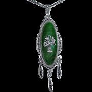 Austrian Sterling Pendant Necklace Enamel & Drops