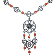 Ethnic Coral & Sterling Filigree Necklace & Pendant