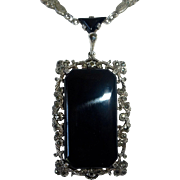 Art Deco Germany Sterling Marcasite Onyx Pendant Necklace