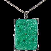 Art Deco Peking Glass Sterling Marcasite Pendant