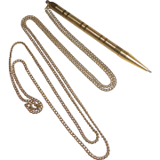 Art Deco Gold Metal Mechanical Pencil on Chain