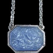 Silver Tone Pendant Necklace Molded Blue Art Glass Rose