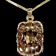 Retro 14k Yellow & Rose Gold Smokey Quartz Pendant & Chain