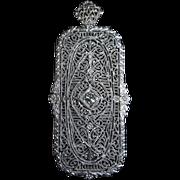 Art Deco Platinum & 14k Filigree Diamond Pendant / Pin