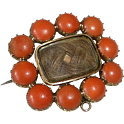 Antique Georgian 10K Rose Gold Natural Coral Hair Mourning Brooch