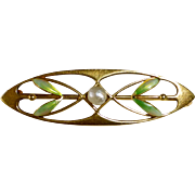 Antique 14k Art Nouveau Pin Iridescent Enamel