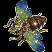 14k Gold Plique a Jour Enamel & Gemstone Bee Pin