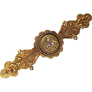 Antique Victorian 15k Etruscan Revival Pin Rose Cut Diamonds