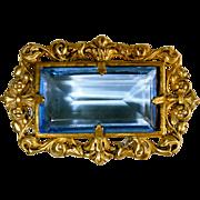 Art Deco Czech Pin Brass & Blue Glass Jewel