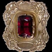 Art Nouveau Brass Sash Ornament Pin Red Jewel
