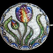 Antique Italian Micro Mosaic Tulip Pin 800 Silver Setting