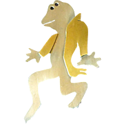 Sterling & Brass Frog 'Stepping Out' Pin