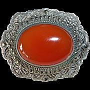 Art Deco Filigree Sterling Carnelian Marcasite Pin