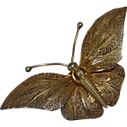 Topazio Sterling Filigree Gold Wash Butterfly Pin