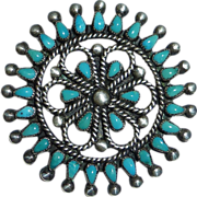 Native American Zuni Sterling Turquoise Petit-Point Pin