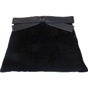 Black Velvet Clutch Purse w Satin Bow